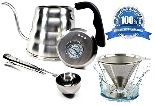 - Pour Over Coffee Kettle Set with Thermometer 1.2L - Gooseneck Hand Grip - Premium Stainless Steel