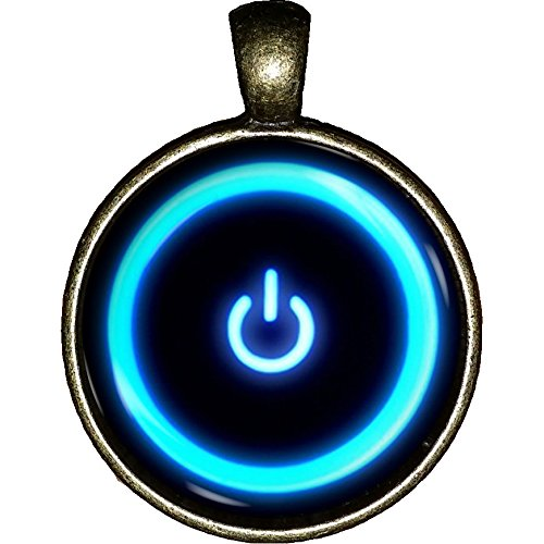 Power Button necklace Computer Geek Software Video game system jewelry pendant charm gifts (Video Game Necklace)