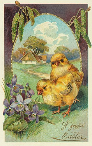 A Joyful Easter Scene with Chicks and Violets