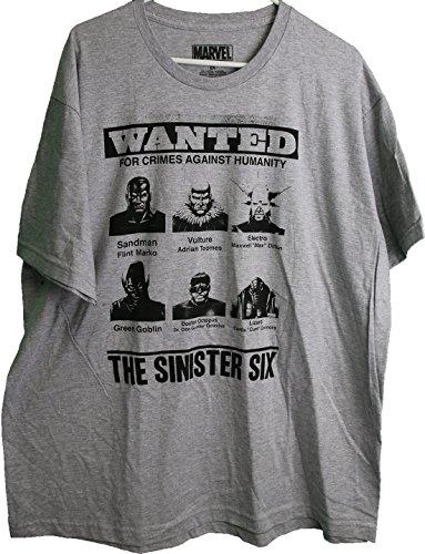 Marvel The Sinister Six Distressed Logo Villians Adult Men's T-Shirt - Marvel 6x T Shirts
