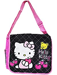 Hello Kitty Apples and a Teddy Bear Black/Pink Girls Messenger Bag