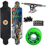 Woodstock Tune In 41' Drop Deck Longboard Complete with Paris Raw/Black Trucks Abec 9 Bearings and Ripsaw Wheels