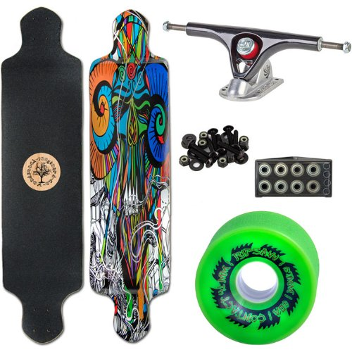 "Woodstock Tune In 41"" Drop Deck Longboard Complete with Paris Raw/Black Trucks Abec 9 Bearings and Ripsaw Wheels"
