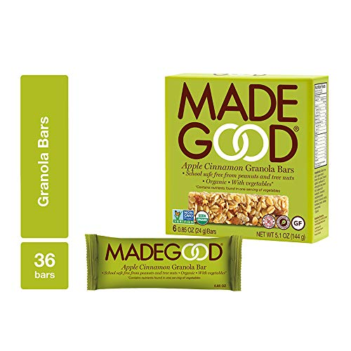 MadeGood Apple Cinnamon Granola Bars, 6 Pack (36 ct, .85 oz); Contain Nutrients of One Serving of Vegetables; Gluten-Free Oats, Sweet Apples and Spicy Cinnamon; School-Safe, Nut and Allergen-Free Bars (Apple Organic Bar)