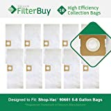 10 - Shop-Vac 90661 906-61 9066100 Bags. Designed by FilterBuy to replace Shop Vac 5-8 Gallon 90661 Dust Collection Vacuum Bags