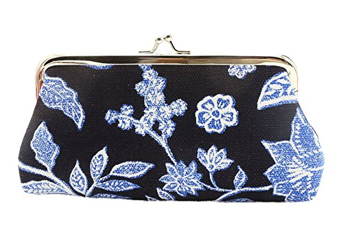 Women's Flowers Coin Pouch Purse Lady Retro Vintage Mini Hasp Coin Purse Wallet Clutch Bag (blue) from lishan