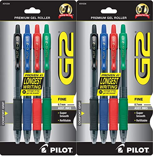 PILOT G2 Premium Refillable & Retractable Rolling Ball Gel Pens, Fine Point, Black/Blue/Red/Green Inks, (31034), 2 Pack of 4