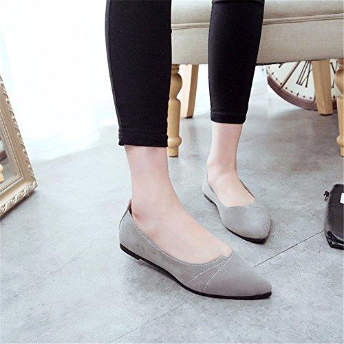 YUCH Diario Calzado Confortable La Mujer Sola Y Informal Casual Zapato Hebilla Gray qvqrSC