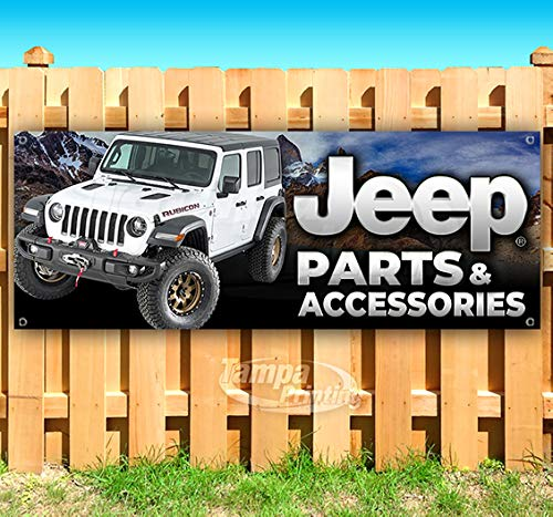 Many Sizes Available New Store Jeep Parts /& Accessories 13 oz Heavy Duty Vinyl Banner Sign with Metal Grommets Advertising Flag,