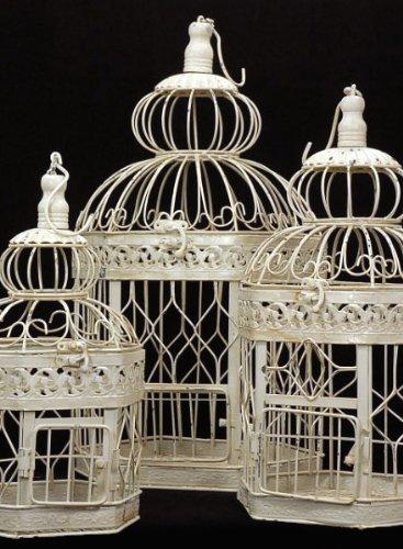 Juego de 3 estilo victoriano crema blanco jaula de jaulas de ...