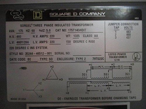 518 F4nzmxL square d 175 kva 460 to 460y 266 v 3ph isolation transformer