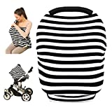 infant car seat cover patterns - Baby Car Seat Cover canopy nursing and breastfeeding cover(black and white stripe)