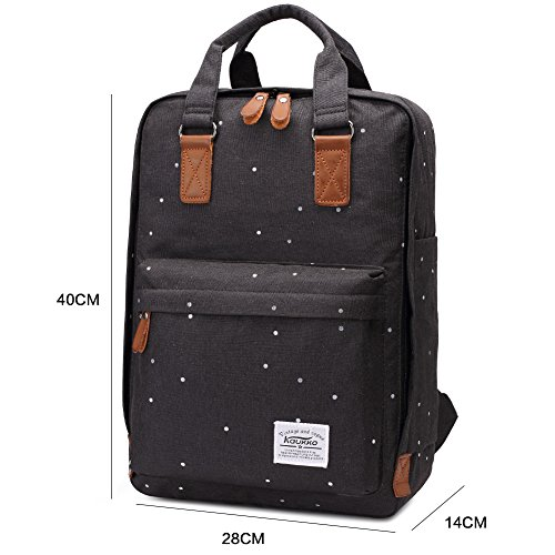 Kaukko portátil ordenador hombros de la mochila del bolso elegante de la Escuela Negro Negro