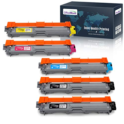 (OfficeWorld Compatible Toner Cartridge Replacement for Brother TN221 TN-221 TN225 TN-225 for Brother HL-3140CW HL-3170CDW MFC-9130CW MFC-9330CDW (2 Black, 1 Cyan, 1 Magenta, 1 Yellow), 5 Pack)