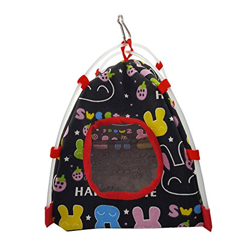 Parrot's Toy,Tent Shape Cage House Warm Nest Bed with Soft Plush Pad