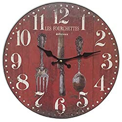 HDC International Round Red Anitque Place Setting Decorative Clock 13 x 13 inches Quartz Movement.0106