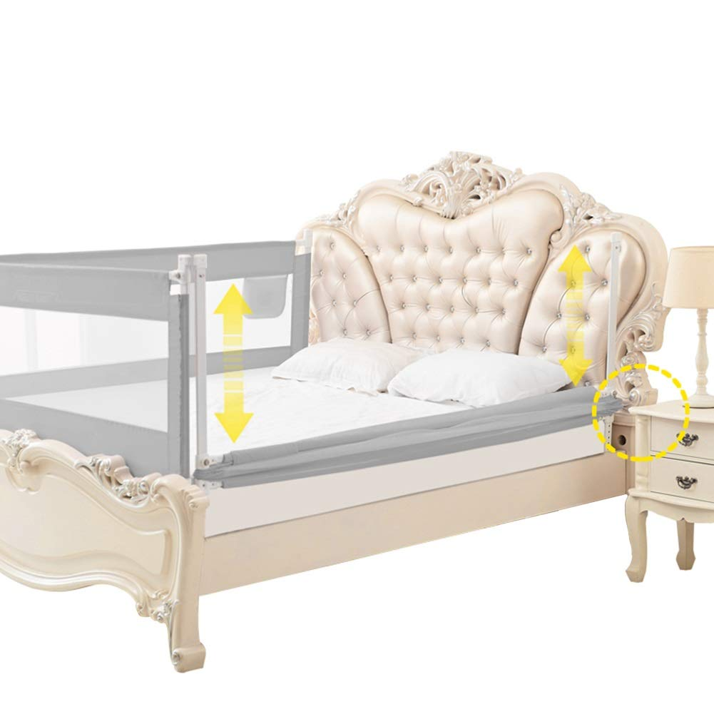 ベッドフェンス ベビーベッドの柵、携帯用ベッドの監視子供の幼児の安全側の柵、ロック可能なバックルと調節可能な高さ - 灰色 (サイズ さいず : 1.8m) 1.8m  B07PLWJ6GF