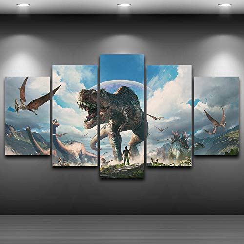 ng Home Decor Wall Art Framework 5 Pieces Jurassic Park Dinosaurs Pictures for Living Room HD Prints Animal Poster ()