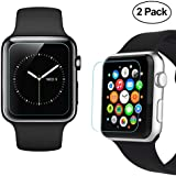 42mm Apple Watch Screen Protector [Only Covers the Flat Area], iXCC 0.3mm HD Tempered Glass shield [Anti bubble, Scratch Resistant] - 2 Packs