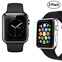 38mm Apple Watch Screen Protector [Only Covers the Flat Area], iXCC 0.3mm HD Tempered Glass shield [Anti bubble, Scratch Resistant] - 2 Packs