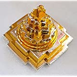 BLESSED & ENERGIZED Sri Shri Shree Meru Yantra 3D with 11 Plates in Pure Brass and gold/silver polished-2Lx2Wx2.5H Inches-For Spiritual powers, Inner Doshas & Enormous wealth by AWAKEN YOUR KUNDALINI