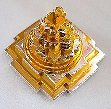 BLESSED & ENERGIZED Sri Shri Shree Meru Yantra 3D with 11 Plates in Pure  Brass and gold/silver polished-2Lx2Wx2 5H Inches-For Spiritual powers,  Inner