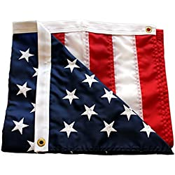 American Flag Embroidered 3x5 ft 100% Made in USA by Sietrip:Extremely Strong 210D Oxford Nylon Embroidered Stars Sewn Stripes,Sturdy Brass Grommets,Indoor/Outdoor, Withstands Tough Weather and Wind