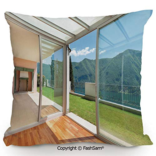 "FashSam Throw Pillow Covers Apartment Villa with Patio and Garden Mountain Ocean Sunny Image for Couch Sofa Home Decor(18"" Wx18 L)"