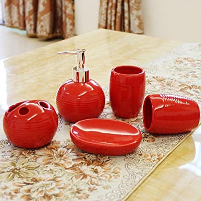 Moderno diseño de 5 piezas de cerámica Set de accesorios de baño, jabonera, porta cepillo de dientes, jabón, banda roja