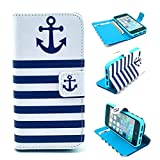 Iphone 5S Case,Iphone 5SE Case, Kmety Blue Anchor Portrait Graphic Magnetic Snap Wallet Flip PU Leather With Stand Cover Case for Apple Iphone 5/5S 5SE