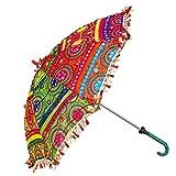 Sun Protection Rajasthani Umbrella Handicraft Walking Stick Umbrella Ethnic Handmade Embroidery Work For Indian Wedding or Décor