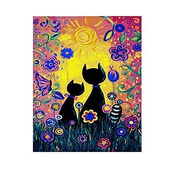Gatos DIY Pintura Por Números En Canva Pintura Al Óleo Decoración Para El Hogar Para la Sala de Arte de Pared Sin Marco 40x50 cm: Amazon.es: Hogar