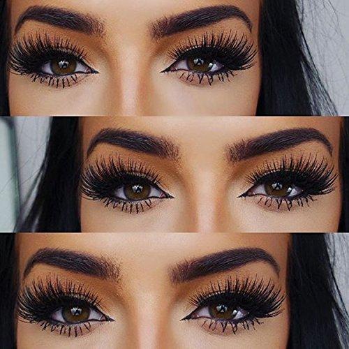 58c9a9ea8a8 Amazon.com : Veleasha Lashes Long Thick 3D Mink Eyelashes Dramatic Look  Handmade Reusable False Eyelashes for Makeup 1 Pair Pack (No.22) : Beauty