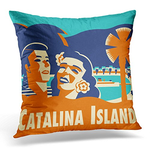 VANMI Throw Pillow Cover Santa Vintage Catalina Island Tag Avalon Decorative Pillow Case Home Decor Square 16x16 Inches -