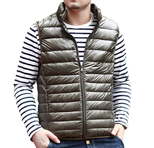 Gocgt Lightweight Coat Down Jacket Green Vest Collar Men's Army Stand Casual r4rxCgq