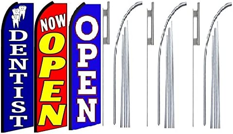 Dentist Now Open Open King Swooper Feather Flag Sign Kit with Pole and Ground Spike Pack of 3