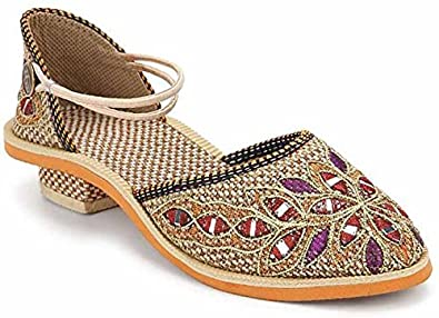 latest best sell good selling StepIndia Multi Colored Embroidery Jute Ethnic Rajasthani Jaipuri Sandal  Shoes for Women and Girls