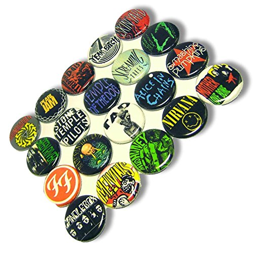 "(Custom & Novelty {1"" Inch} 20 Bulk Pack, Mid-Size Button Pin-Back Badges for Unique Clothing Accents, Made of Rust-Proof Metal w/ Grunge Rock n Roll Singers Different Set Band Styles [Multicolor])"