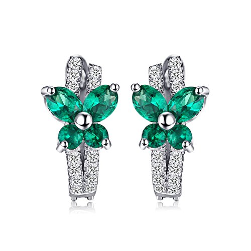 Jewelrypalace Butterfly 1ct Created Nano Russian Emerald Hoop Earrings Solid 925 Sterling Silver (Russian Emerald)