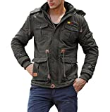 CRYSULLY Men's Winter Fleece Warm Stylish Classic Cargo Jacket Army Coat Stand Collar Army Green