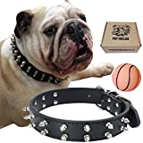 teemerryca Leather Spiked Studded Dog Collars with a Squeak Ball Gift for Medium Large Dogs Like Pit Bull/Bulldog/Husky Labrador/German Shepherd, Black, Medium 16.1-20 inches