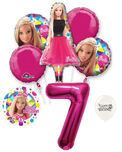 7th Birthday Barbie Party Decorations Balloon Bouquet Bundle]()