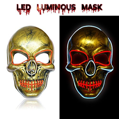 Mens Mask Handmade Light up Mask w/Creepy Face LED Glowing for Halloween Rave Costume Party