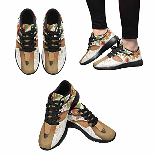 InterestPrint Womens Jogging Running Sneaker Lightweight Go Easy Walking Casual Comfort Running Shoes Incredible Deer With Awesome Flowers Multi 1 hfxeNnluP
