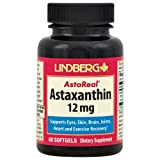 Lindberg Astaxanthin 12 mg with Extra Virgin Olive Oil, AstaReal brand, 60 Softgels