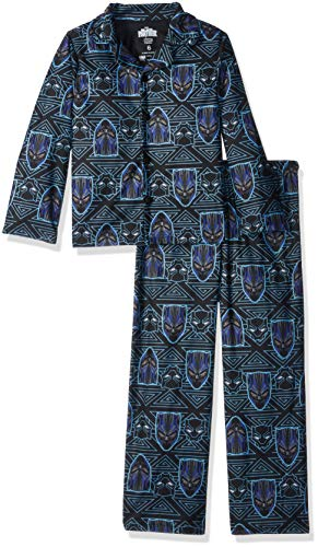 Coat Set Pj (Marvel Boys' Big Black Panther 2-Piece Pajama Coat Set, Wakanda at Night, 10)