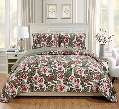 MK Home 3pc Full/Queen Oversized Quilted Bedspread Coverlet Set Flowers Leaves Sage Green Burgundy Taupe White
