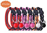 AWAMI 6 PCS Safety Reflective Cat Collar Breakaway Cats Collars with Bell, Adjustable 8-10""