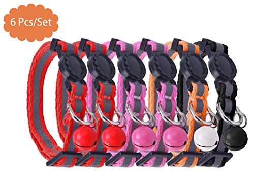 AWAMI 6 PCS Safety Reflective Cat Collar Breakaway Cats Collars with Bell, Adjustable 8-10