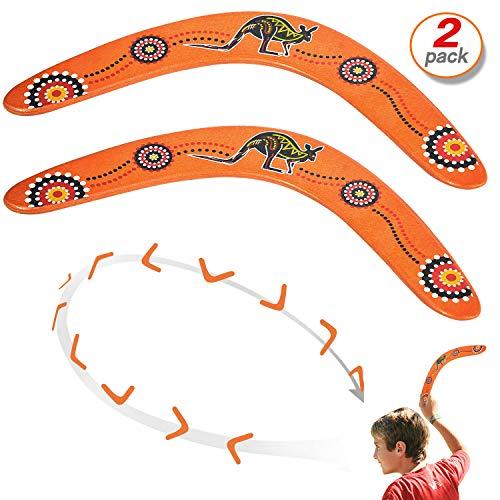 Yo-fobu 2pcs Wood Boomerang Hand Crafted Flying Boomerang by Austalian National Aboriginal Design (Australian Boomerang)